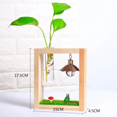 1 x New Glass Tabletop Plant Bonsai Flower Vase With Wooden Glass Vase With Light Bulb Tray Home Wedding Decoration New Year in Vases from Home Garden