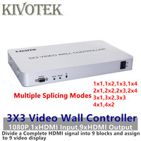 Video Processor 3x3 FullHD 1080P Video Wall Controller Divide 1xHDMI into 9 Video Display Multiple Splicing Modes Free Shipping
