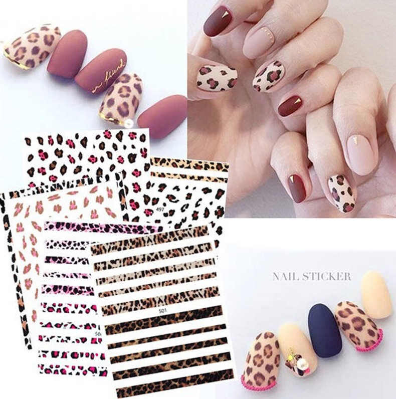 1 Sheet Black/White Leopard Nail Art Water Transfer Stickers Decals Beauty Full Wraps Manicure Decoration DIY Accessory