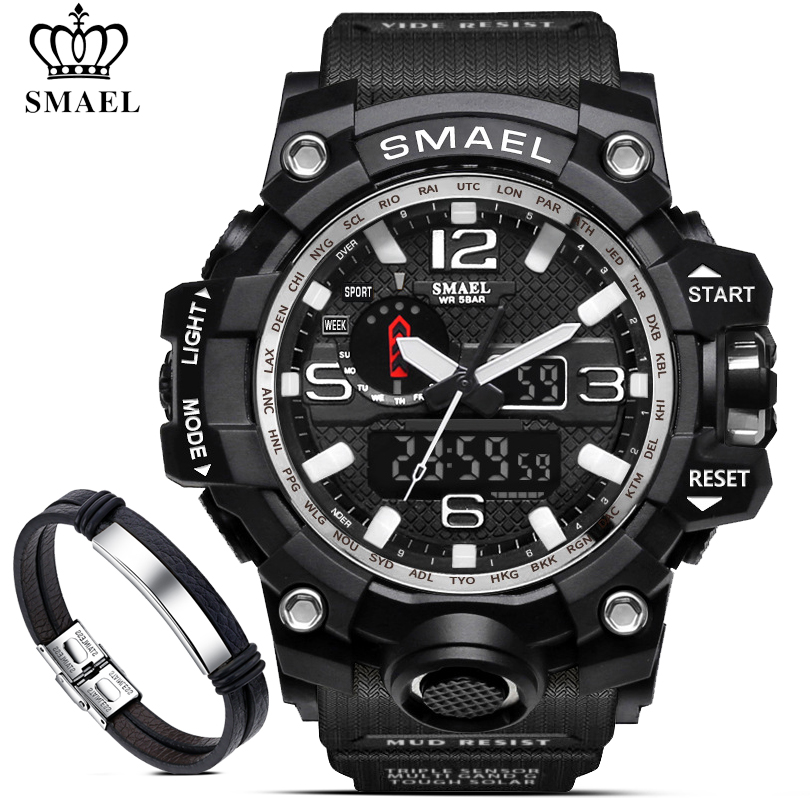 SMAEL Men Military 50m Waterproof Digital Watches Men's LED Quartz Clock Sport Watch Male Relogios Masculino 1545 + Bracelet Set