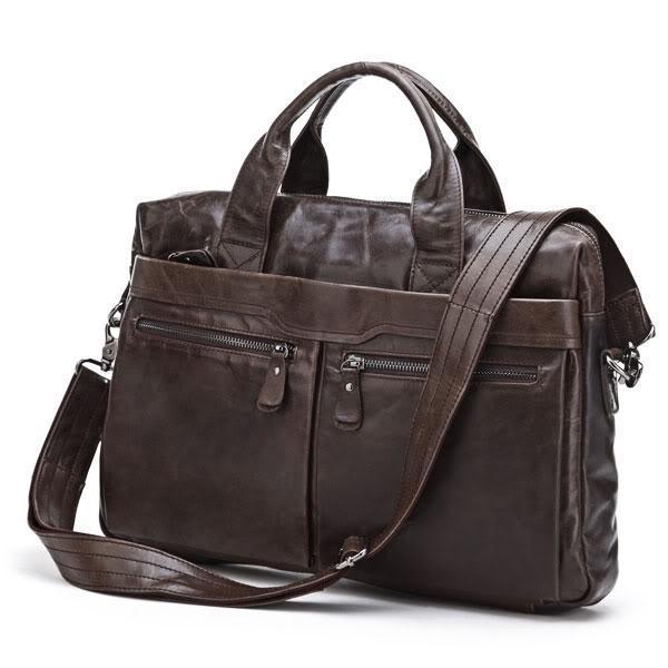 Nesitu Promotion Best Gift First Layer Genuine Leather Men Messenger Bags Briefcase Portfolio #M7122