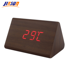 JINSUN Alarm Clock Modern Wooden Thermometer Desk Clocks LED Digital clock Sound Control Mini LED Table Clock