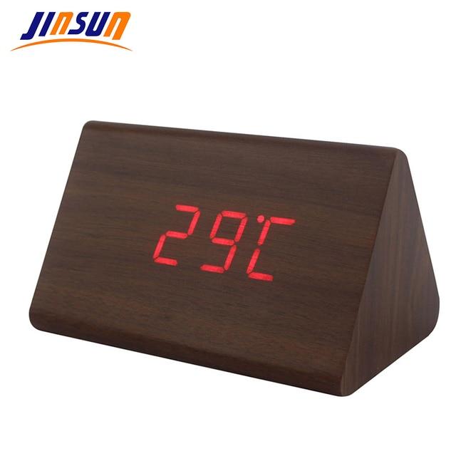 Jinsun удара будильник Современный деревянный термометр стол Часы светодиодный цифровой часы звук Управление мини led настольные часы