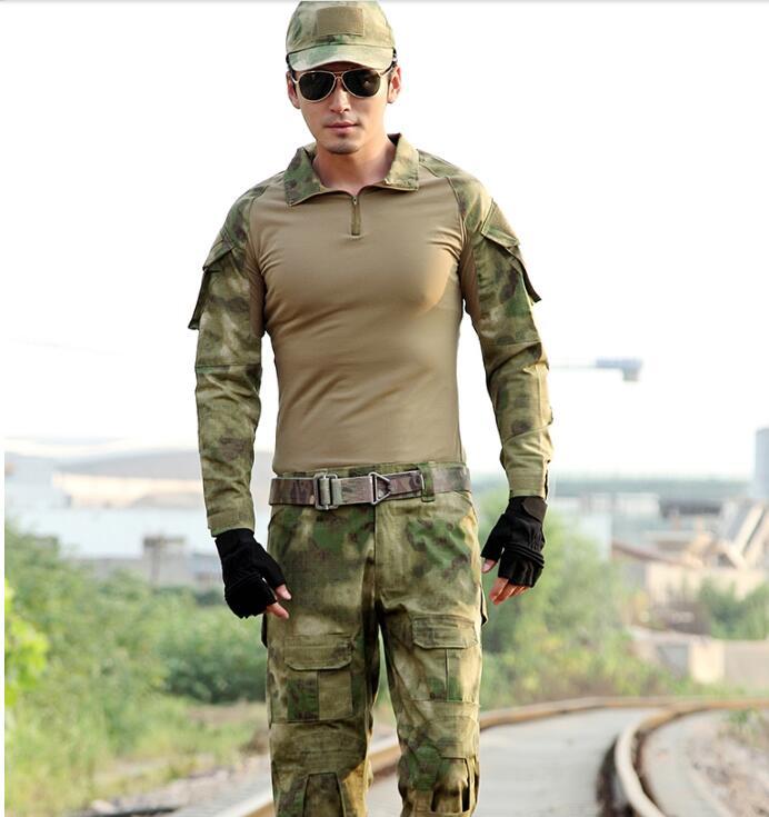 Camouflage costume hommes 2017 numérique uniformes militaire grenouille costume Multicam noir
