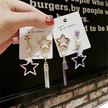 Korea Handmade Asymmetry Star Tassel Rhinestone Women Drop Earrings Dangle Earrings Fashion Jewelry Accessories-QQD5 цена
