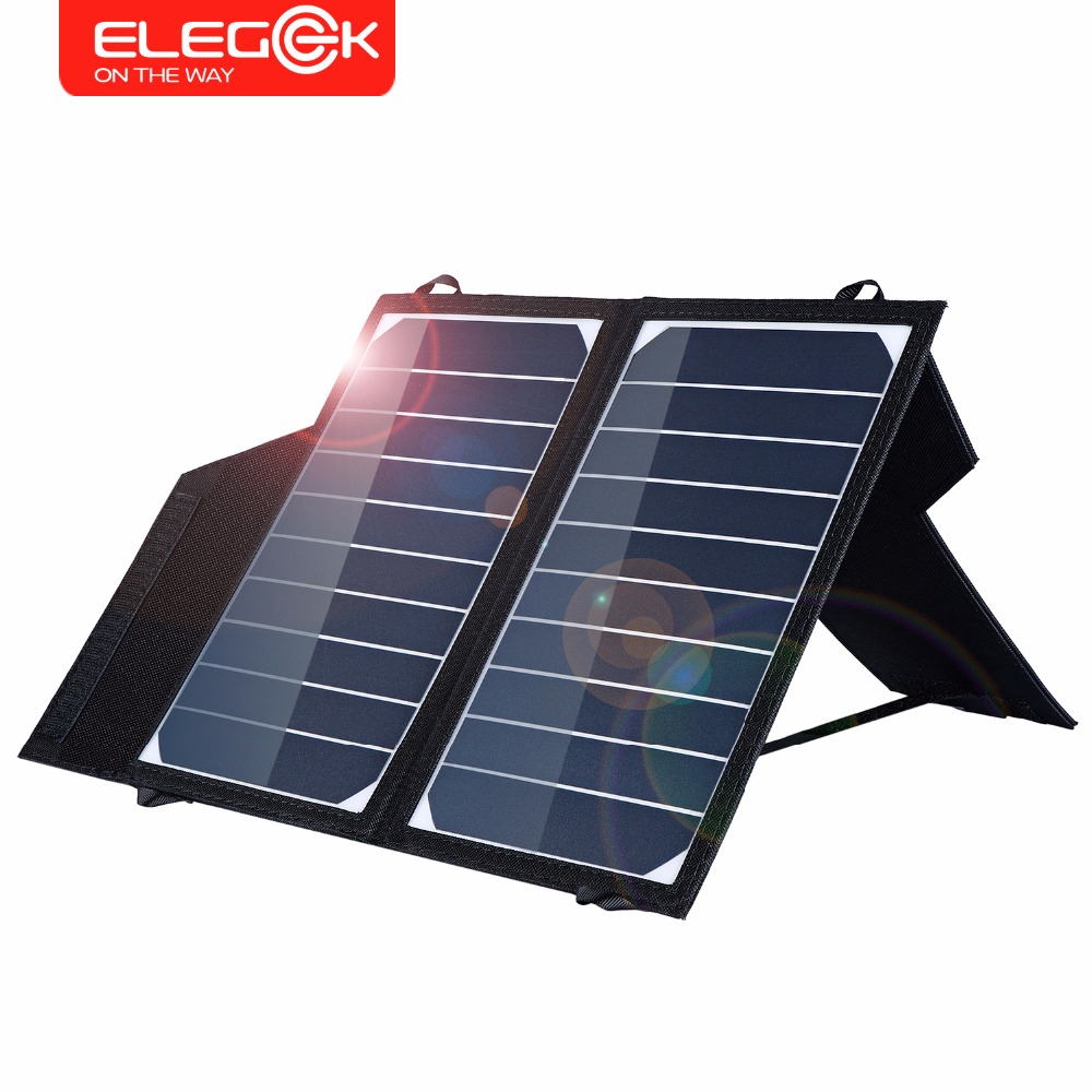 ELEGEEK 5V 10W Portable Solar Panel Charger Foldable Solar Phone Tablet Charger 2A Solar Charging for