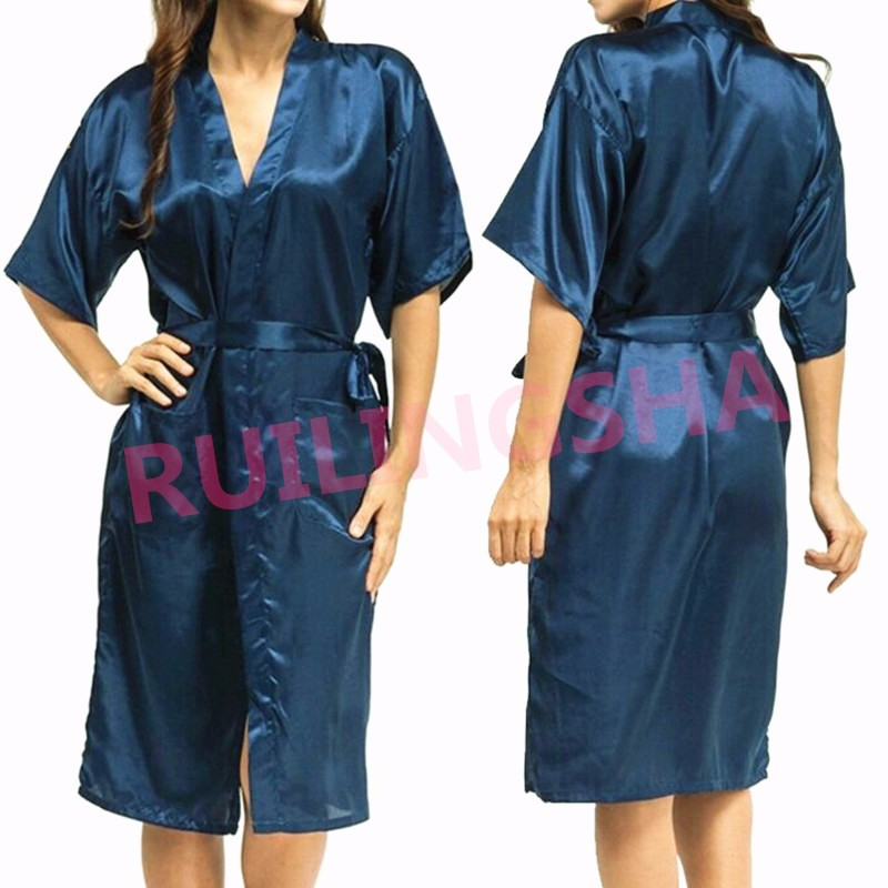 Plus Size Brand Bathrobe Women Men Kimono Silk Satin Long Robe ... 7ed969f765ad