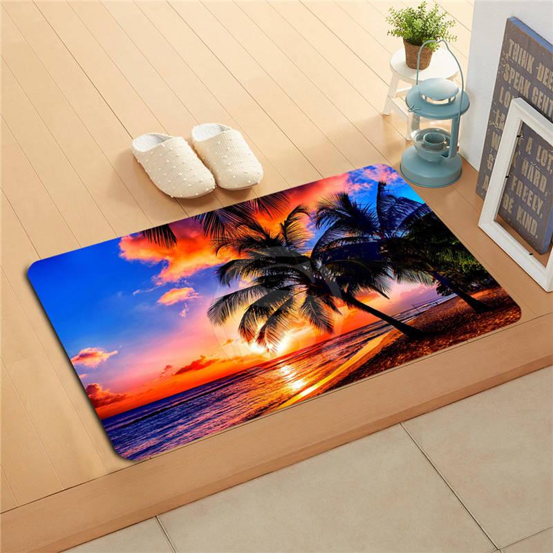 F627m21 Free Shipping Custom sunset beach sea Doormat Art Design Pattern Printed Floor Hall Bedroom Cool Pad Fashion Rug #14-j