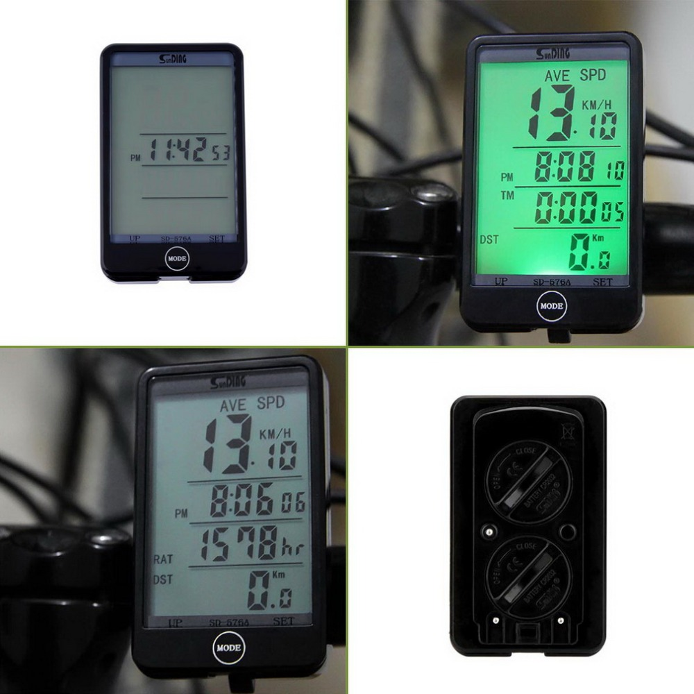 Sunding SD576A Waterproof Auto Bike Computer Light Mode Touch Wired Bicycle Computer Cycling Speedometer With LCD Backlight