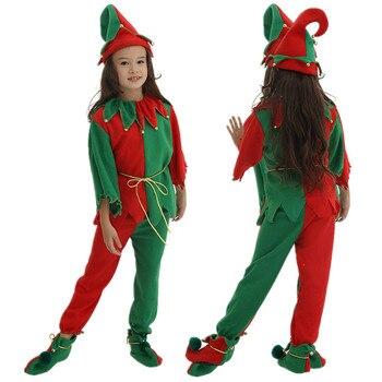 Vente Chaude Européenne Américaine Nouvelle Année Costumes Pour Garçons Filles Noël Elf Correspondant Tenue Costume Enfants Cosplay Vêtements