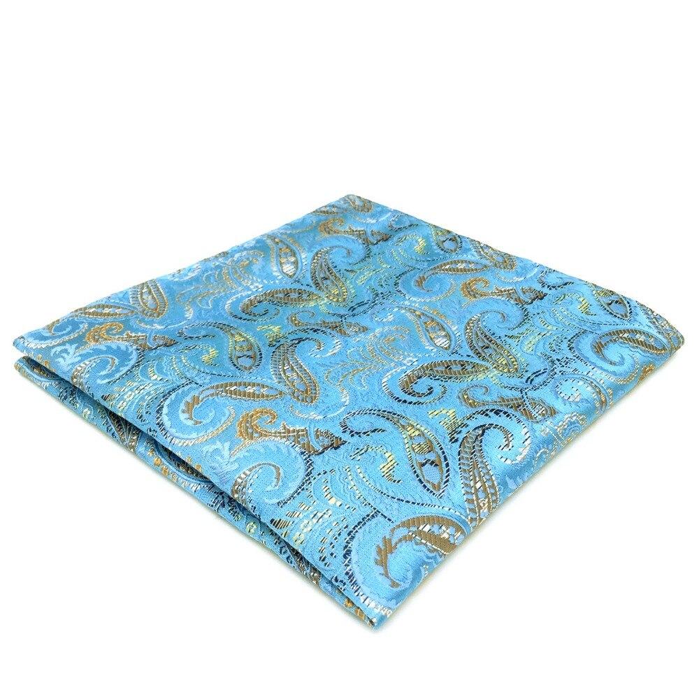 DH9 Blue Paisley Mens Pocket Square Silk Handkerchief Classic Large 12.6