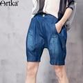 Artka Women's Summer New Vintsge Loose Style Cotton Shorts Fashion All-match Comfy Denim Jeans KN10767C