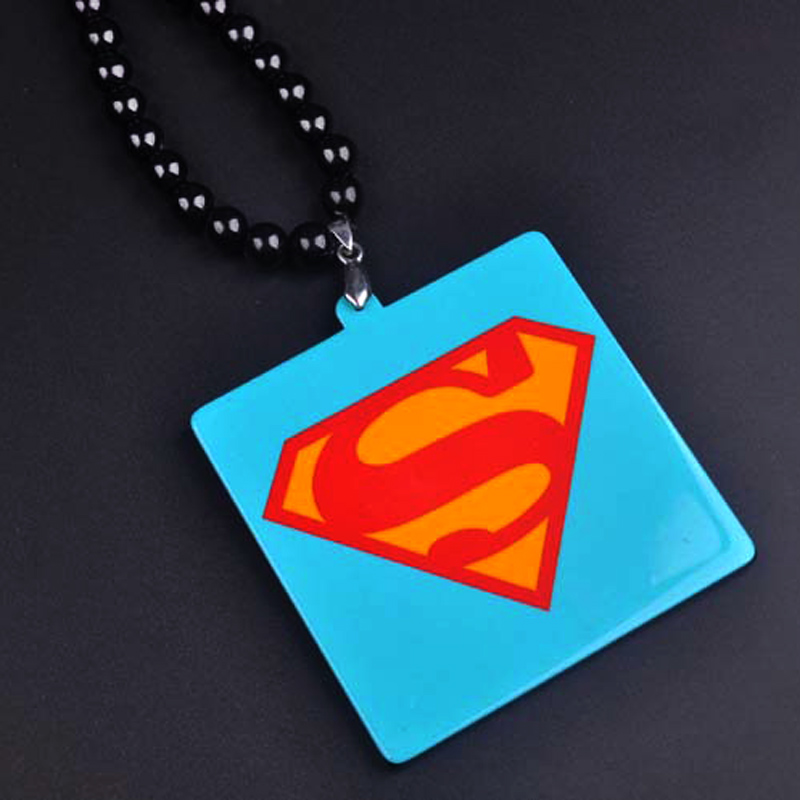 New Hip Hop Superman Necklace Chains For Men Long Bead Chain Skull Pendant Necklaces Male Jewelry Bijoux Gift Collier Bijoux