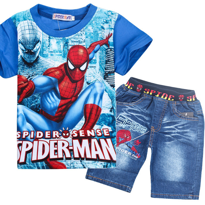 2018 Retail Spiderman Kinderkleding Sets Mode Cartoon Kinderen Zomer Shirt Jeans Shorts Set Peuter Jongens Superman Kleding