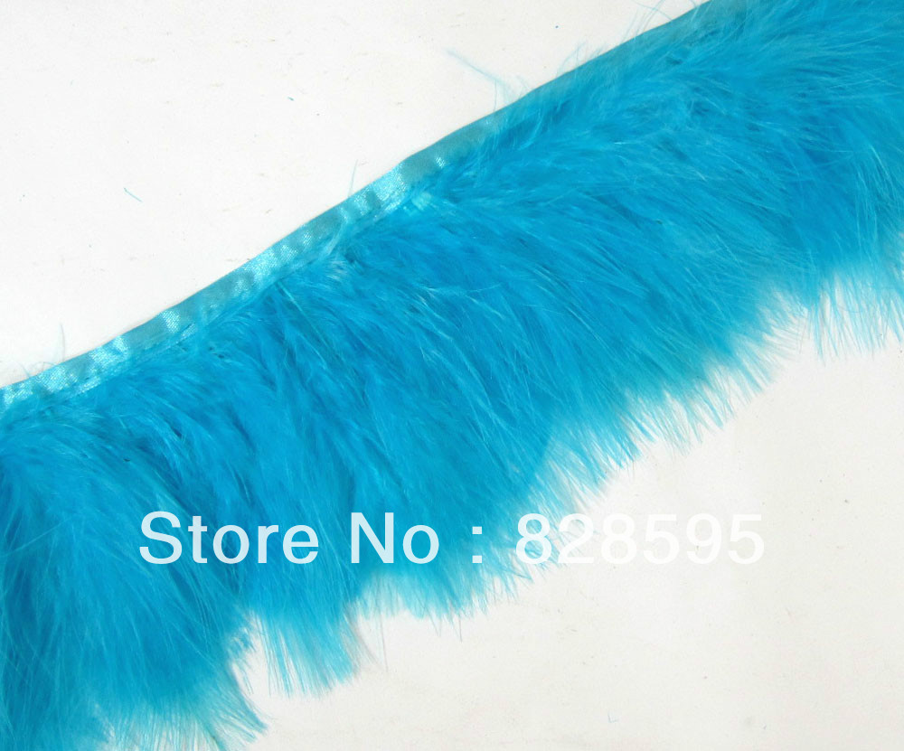 F467 PER 30cm-Teal Blue Turkey Marabou Hackle Fluffy Feather Fringe Trim Craft