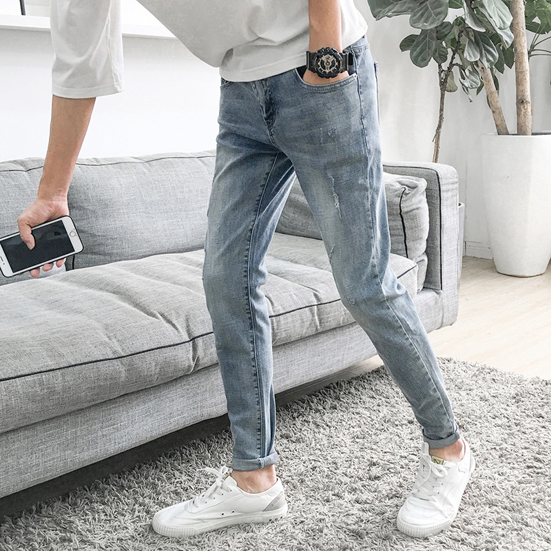 Top Quality 2019 Spring Autumn Casual Men's Ripped Hole Jeans Slim Feet Pants Washing Denim Teenagers Hip Hop Pencil Pants Men