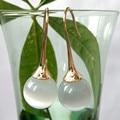 Navachi White Ball Opal Agate  Yellow GP Hook Earrings SMT1989