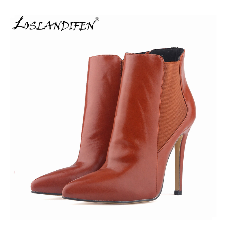 LOSLANDIFEN WOMENS SEXY POINTED TOE FAUX LEATHER HIGH STILETTO HEELS PLATFORM ANKLE BOOTS SKOER 769-2YP