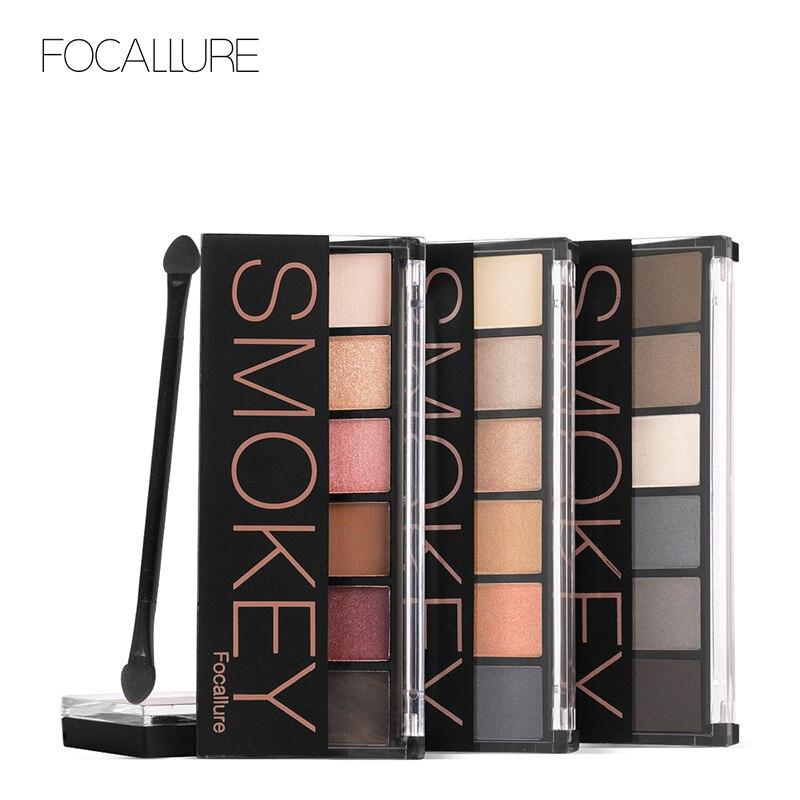 FOCALLURE 6 colores sombreador de ojos paleta tierra Color Glamorous Smokey sombra de ojos Shimmer colores de maquillaje sombra de ojos con cepillo Kit