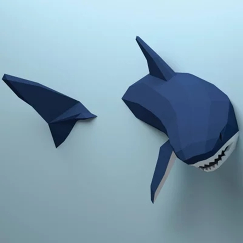 Creative Paper Shark Model Toys 3d Diy Material Manual Creative Party Show Props Lovely Tide Bed Decorate Sharks Image Gift A Plastic Case Is Compartmentalized For Safe Storage