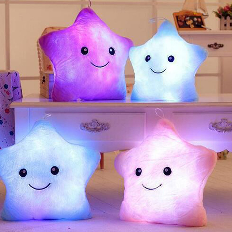 LED Star Luminous Kids Pillow 35cm Stuffed Soft Plush Glow Cushion Colorful Flashing Pillow Lovely Toys for girls