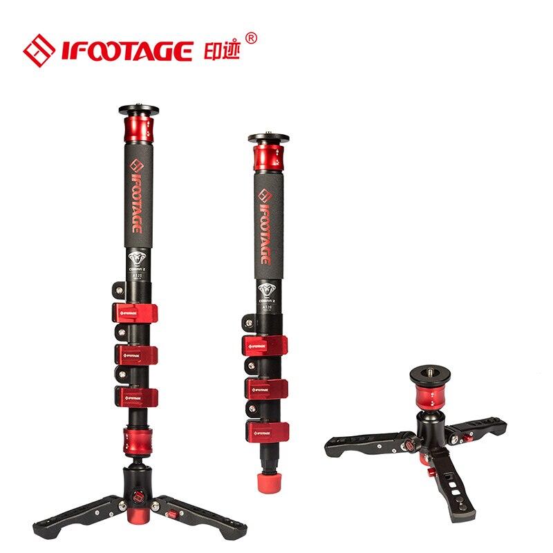 IFootage COBRA 2 Léger Durable Monopode 120 CM En Fiber De Carbone Portable Vidéo Manfrotto w/Réglable Pieds/Bas Angle caméra Pod
