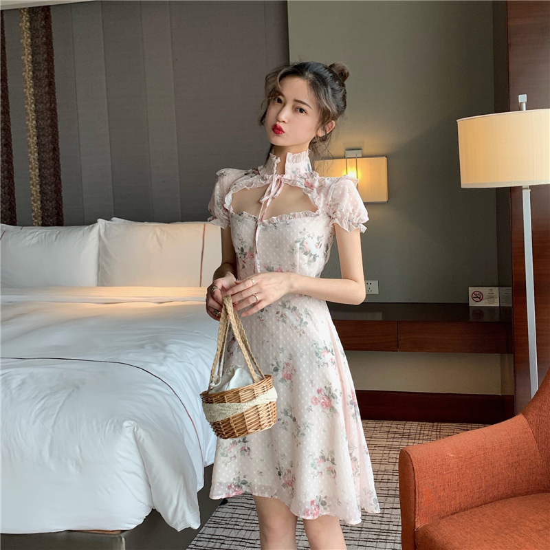 Lolita Dress Sweet Cute Japanese Kawaii Girls Princess Maid Vintage Gothic Printed Patterns Chiffon Summer Dress