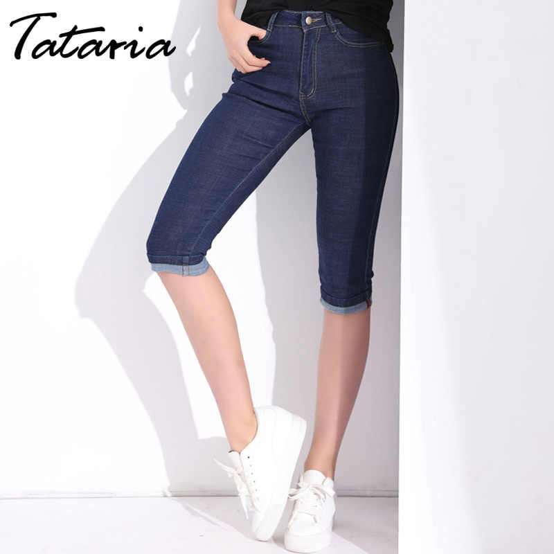 0063e3c5a85a Высокая Талия Джинсы для женщин; Большие размеры Sretch летние капри джинсы  женские ...