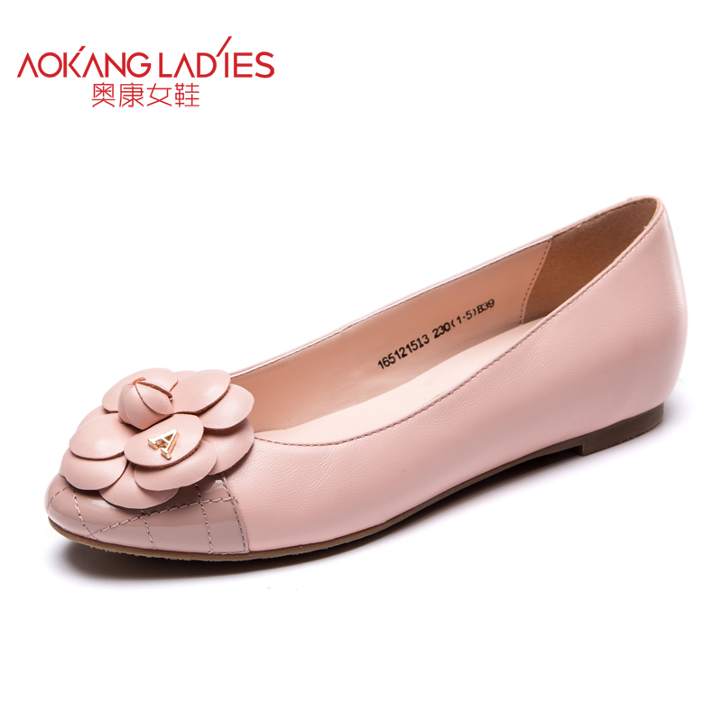 ФОТО AOKANG 2016 autumn New Arrival lady shoes sheepskin&cow leather material round toe flats for women slip-on female shoes