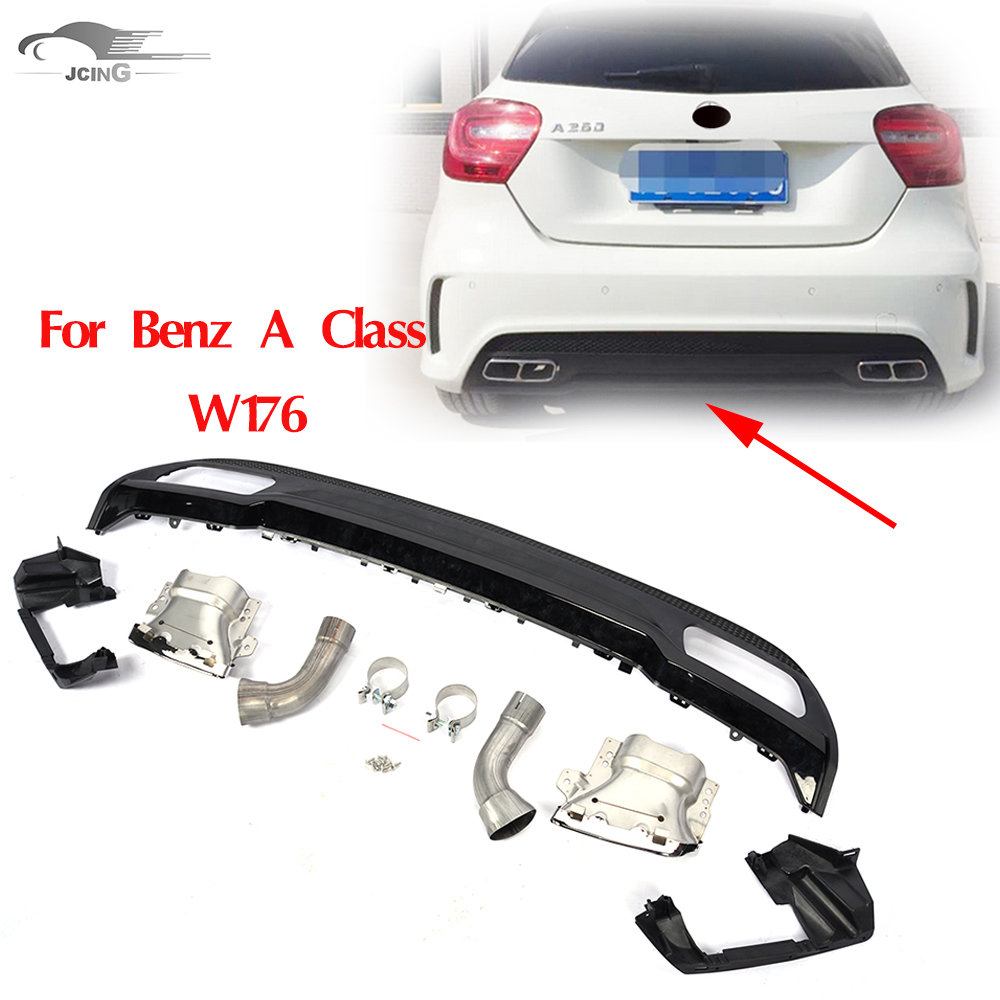 Bumper sticker design tips - For Benz A Class W176 Rear Bumper Diffuser With Exhaust Tips For Benz A260 2014 2015 Car Accessories A45 Styling