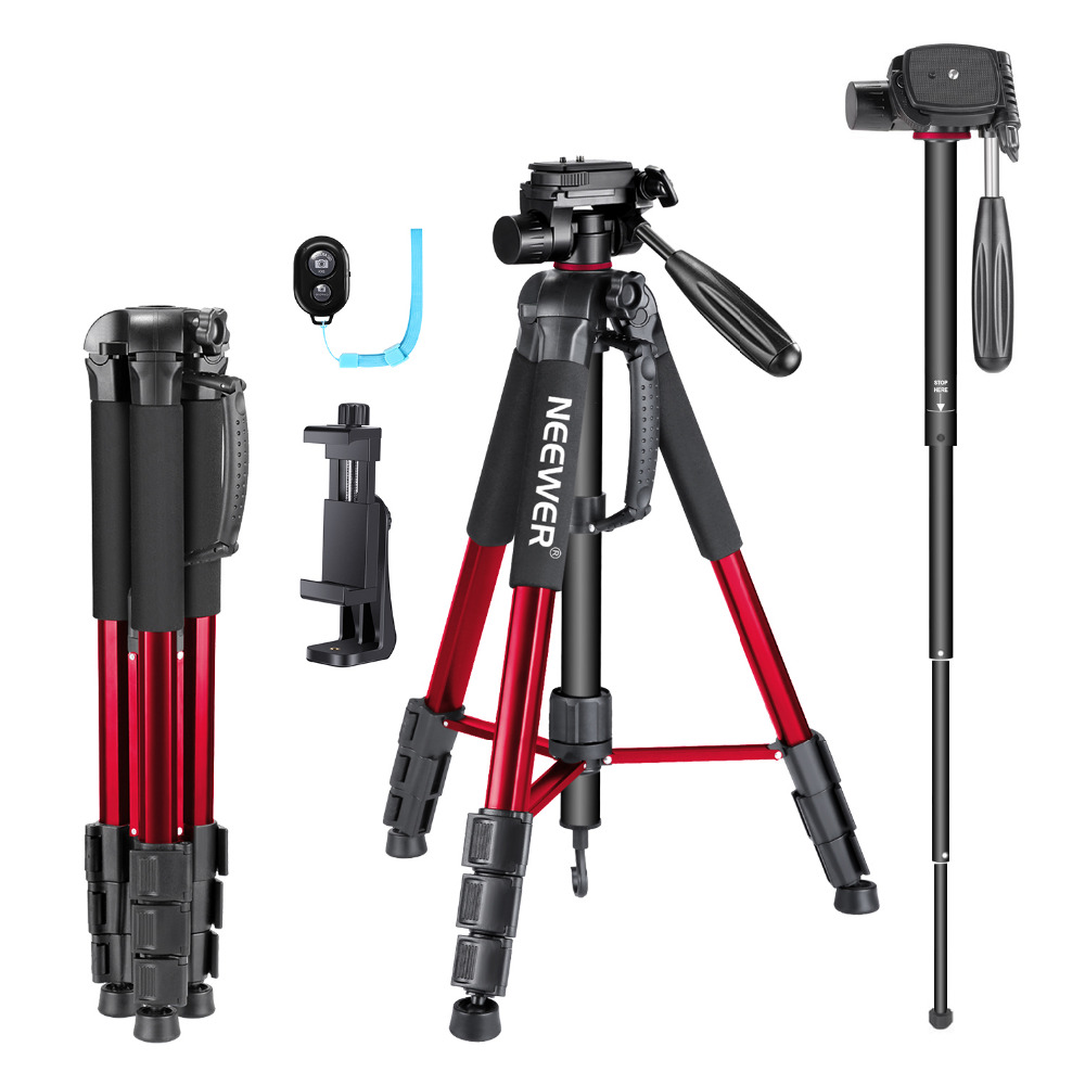 Neewer 70 inches Aluminium Camera Tripod Monopod with 3-Way Swivel Pan Head+Cellphone Holder+Bluetooth Remote+Bag for iPhoneNeewer 70 inches Aluminium Camera Tripod Monopod with 3-Way Swivel Pan Head+Cellphone Holder+Bluetooth Remote+Bag for iPhone