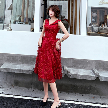 Wine Red Evening Dresses Long 2019 A-Line V-Neck Prom Dresses Lace Flower Robe de Soiree Evening Party Gown LF364