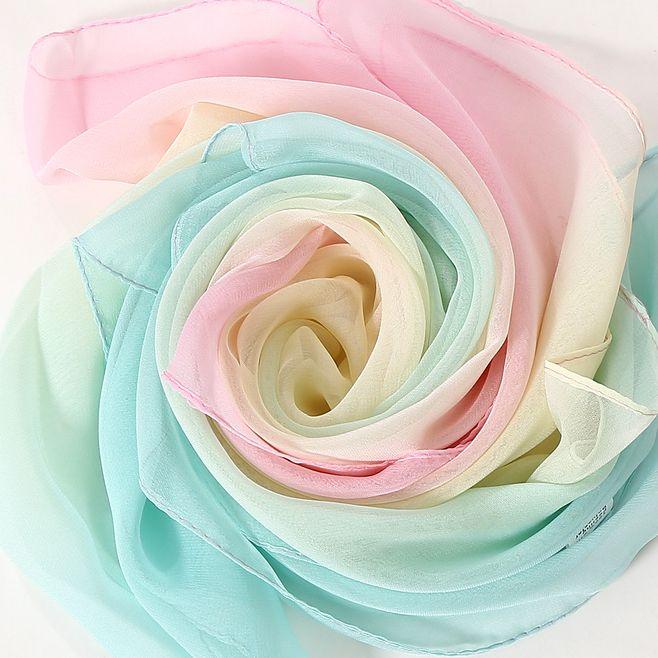 Women Fashion Chiffon Silk Scarves Hijab Thin Lightweight Bandana Summer Gradient Color Beach Towel Sarong Scarf Shawl & Wrap