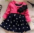 BibiCola новая мода девочка рождество платья одежда Дети детская Прекрасная принцесса Два Тона Сращивание Горошек Dress