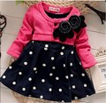 BibiCola new fashion Baby girl christmas dresses clothes Kids Children's Lovely princess Two Tones Splicing Polka Dots Dress