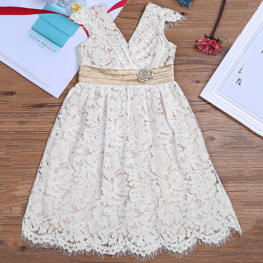 Kids Girls Sleeveless Lace Floral Flower Girl Dress Princess Pageant Wedding vestido infantil Birthday Party Dress Girls Clothes new christmas flower girls dress lace embroidery trumpet wedding pageant birthday summer princess party dresses clothes 3 12yrs