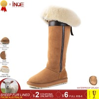 INOE over the knee sheepskin suede leather wool fur lined winter long high snow boots for women bow knot winter shoes flat 35 44