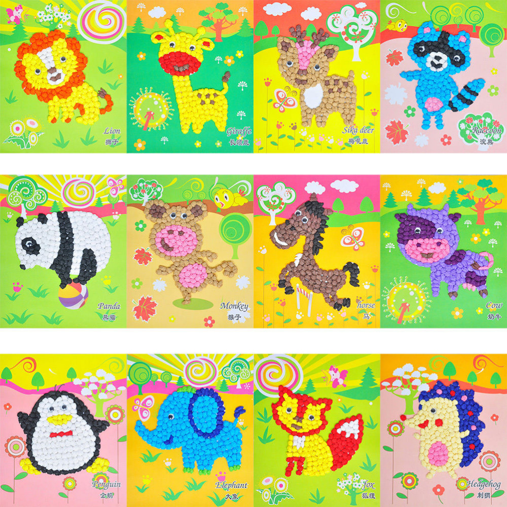 Kids Diy Button Stickers Drawing Toy Handmade School Art Class Ocean Beauty Set Mainan Anak Oct84004ab Multicolor Toys Educational For Children Creative Crumpled Color Paper Painting