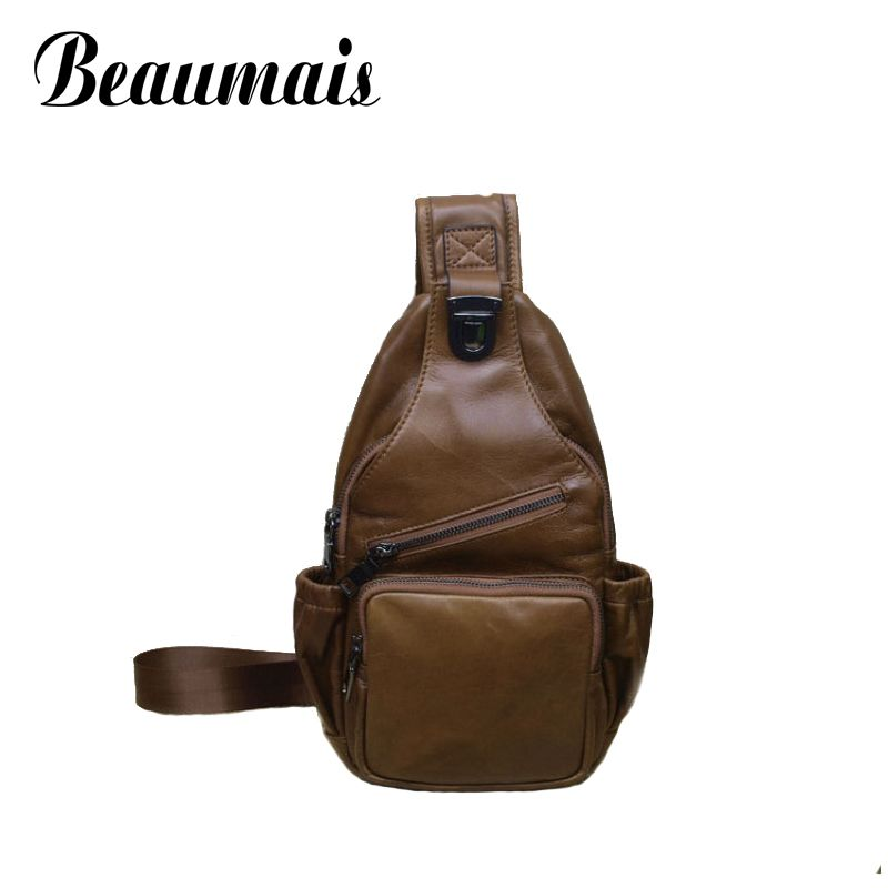 Beaumais 100% Genuine Leather Chest Bag Men Crossbody Shoulder Bags Men's Travel Bags Brand Men Messenger Bags Man Handbag BG151 цены онлайн