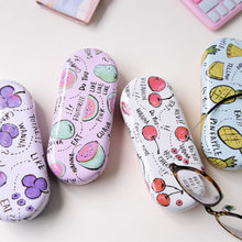 Creative Lovely Cartoon Fruits Cute Watermelon Cherry Grape Pineapple Iron Tin Metal Glasses Box Spectacle Case with Cloth(China)