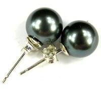 hot sell new Hot sale new Style >>>>925 Silver Fashion Ear Stud black shell Pearl Stud Earrings Earring