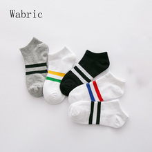 Socks Women's College Wind Two Bars Ladies Sock Slippers Cotton Simple Moisture Absorbing Women Socks 5 Pairs