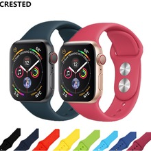 CRESTED Sport strap For Apple watch band 4 42mm/38mm iwatch 3 band 44mm/40 Silicone correa wrist Bracelet belt watch Accessories(China)