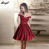 Off The Shoulder Burgundy 2019 Homecoming Dresses A line Short Mini Satin Beaded Elegant Cocktail Dresses