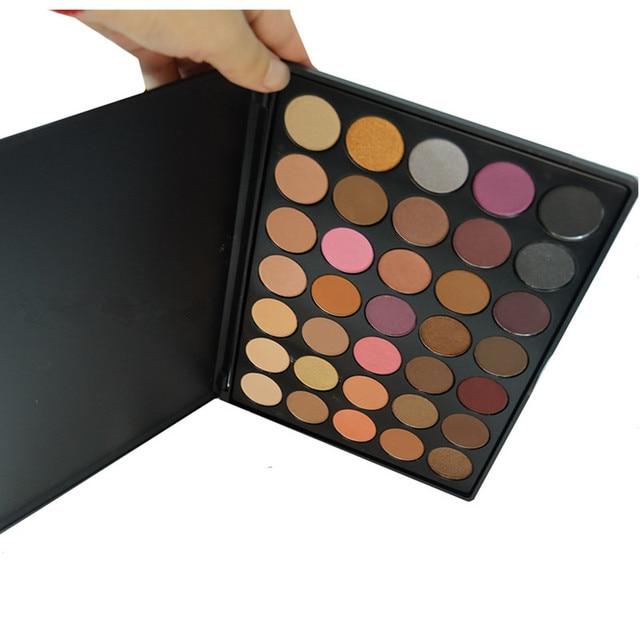 Real Photo Mor 35W Color Makeup Eyeshadow Palette Earth Warm Tone Shimmer Matte Naked Eye Shadow Makeup Set  A23 makeup brush