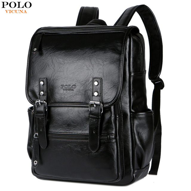 93eb28d8fce VICUNA POLO Large Black Leather Backpack School Bags For Adolescent Boys  15inch Laptop Backpack Teenager Fashion Male Travel Bag