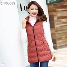 Brieuces Women Winter 2018 New Elegant Slim Vest Big yards High quality Keep warm Cotton Coat Pure color Long Hooded vest ok233