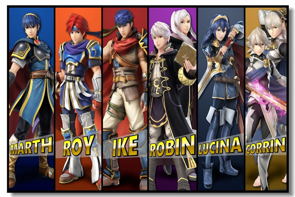 Us 575 28 Offcustom Canvas Wall Painting Fire Emblem Poster Marth Roy Ike Robin Lucina Corrin Wall Stickers Super Smash Bros Wallpaper 0728 In