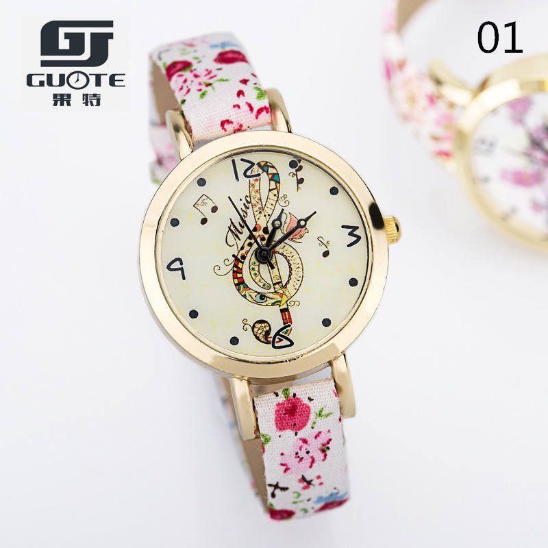 2016 New Fashion Dress Watch Women Elegant Butterfly Music Style Leather Strap Quartz Watches Lady Delicate Gift Watched Relojes 2017 lady gift enmex abstract patterns elegant temperam with simple clean design for young women fashion quartz watches
