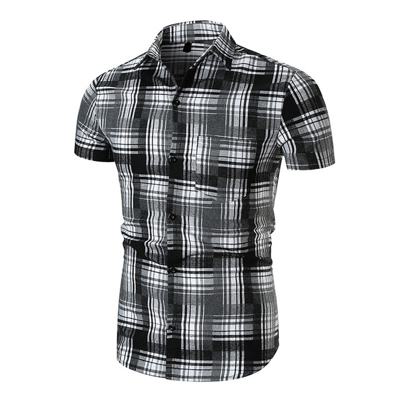 CALOFE Men Casual Shirt Summer Plaid Short Sleeve Leisure Cargo Shirt Mens 2018 Fashion Turn-down Collar Slim Fit Dress Shirts